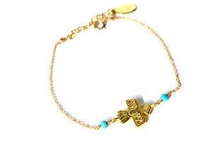 chibi jewelsブレスレット 14Kゴールドフィルド ネイティヴバードチャーム/ターコイズ 通販