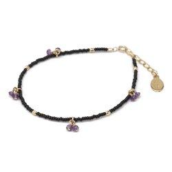chibi jewelsブレスレット ガラスビーズ&アメジスト ブラック/アメジスト 通販
