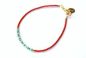 chibi jewelsブレスレット ガラスビーズ&ターコイズ レッド/ターコイズ 通販