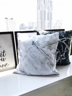 Marble Cushion Cover<br>[Black/White]