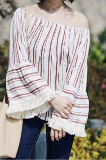 Red Striped Fringe Sleeve Top