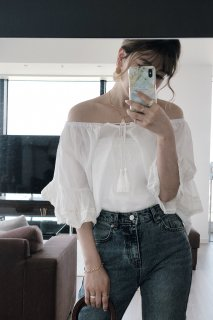 Tiered Sleeve Off Shoulder Blouse