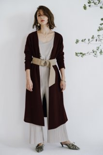 Wine Color Long Cardigan