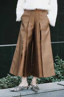 Satin Wide Pants<br>[Camel/Navy]