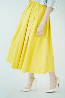Basic Flare Long Skirt<br>[Yellow/Beige]