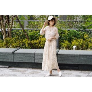 Flower Chiffon Long One-piece<br>[Beige]