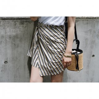 Stripe Wrap Mini-skirt<br>[Beige×Navy]