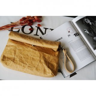 Paper Look Clutch Bag�<br>[BEIGE]