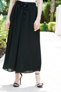 Black Chiffon Wide Pants<br>[BLACK]