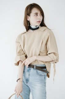 Volume Sleeve Design Blouse<br>[BEIGE]