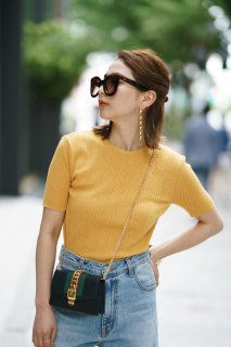 <img class='new_mark_img1' src='//img.shop-pro.jp/img/new/icons8.gif' style='border:none;display:inline;margin:0px;padding:0px;width:auto;' />Crew-neck Summer Knit Tops<br>[BROWN/YELLOW]