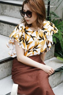 Leaf Print Cotton Frill Blouse<br>[WHITE]