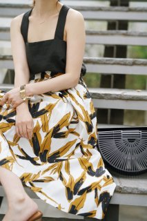 Leaf Print Cotton Skirt<br>[WHITE]