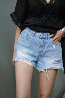 Damage Denim Short Pants<br>[S/M]