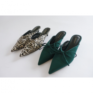 Pointed Ribbon Mule[Green/Leopard]