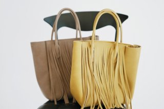 Fake Suede Fringe Bag<br>[Beige/Yellow]