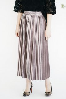 Velours Pleats Long Skirt<br>[Lavender]
