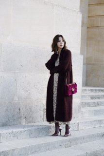 Angola Knit Long Cardigan<br>[WineRed]