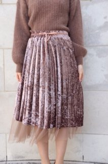 <img class='new_mark_img1' src='//img.shop-pro.jp/img/new/icons8.gif' style='border:none;display:inline;margin:0px;padding:0px;width:auto;' />Velours ×Mesh Pleats Skirt<br>[Brown]