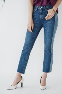 Bi-color Cut-off Denim<br>[Blue]
