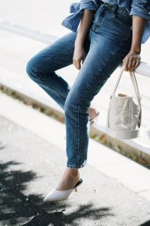 Basic Straight Denim Pants<br>[Blue]
