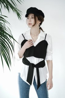 Design Camisole Tops<br>[Black]
