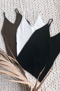 Basic Knit Camisole<br>[White/Black/Brown]
