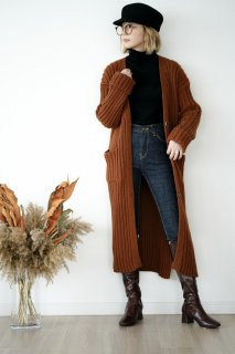 Long Knit Cardigan<br>[BROWN]