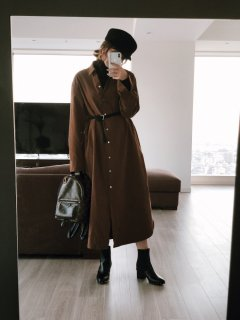 Long Shirt One-piece<br>[BROWN]