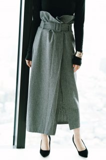 <img class='new_mark_img1' src='//img.shop-pro.jp/img/new/icons8.gif' style='border:none;display:inline;margin:0px;padding:0px;width:auto;' />Wrap Style Stripe Skirt<br>[GRAY]