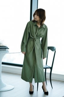 Front Crossing Shirt One-piece<br>[GREEN]