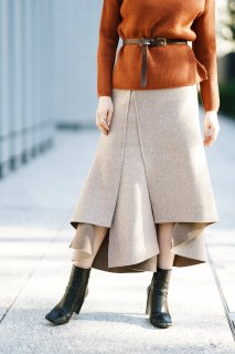 <img class='new_mark_img1' src='//img.shop-pro.jp/img/new/icons8.gif' style='border:none;display:inline;margin:0px;padding:0px;width:auto;' />Design Cut Flare Skirt<br>[GRAIGE]