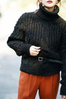 <img class='new_mark_img1' src='//img.shop-pro.jp/img/new/icons8.gif' style='border:none;display:inline;margin:0px;padding:0px;width:auto;' />Turtleneck Cable Knit P/O<br>[BLACK/BROWN]