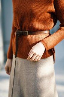 Basic Leather Buckle Belt<br>[BROWN]