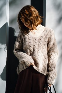 <img class='new_mark_img1' src='https://img.shop-pro.jp/img/new/icons38.gif' style='border:none;display:inline;margin:0px;padding:0px;width:auto;' />Cable V-neck Knit P/O<br>[MOCHA]
