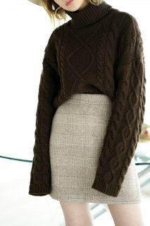 <img class='new_mark_img1' src='https://img.shop-pro.jp/img/new/icons38.gif' style='border:none;display:inline;margin:0px;padding:0px;width:auto;' />Glencheck Wool Mini-skirt<br>[BROWN/S,M]