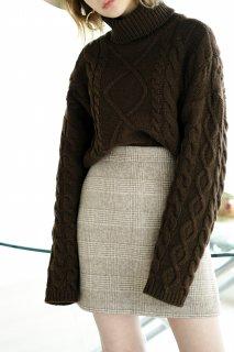 Glencheck Wool Mini-skirt<br>[BROWN/S,M]