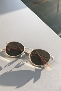 Gold Frame Sunglasses-UV400-<br>[BROWN]