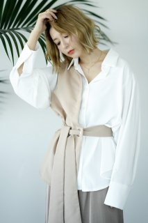 Combination Blouse<br>[WHITE×BEIGE]