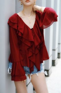 <img class='new_mark_img1' src='//img.shop-pro.jp/img/new/icons8.gif' style='border:none;display:inline;margin:0px;padding:0px;width:auto;' />Chiffon Fril Blouse<br>[RED]