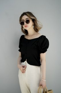 Puff-sleeve Short Blouse<br>[BLACK]
