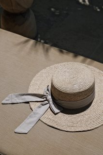 Basic Long Ribbon Hat<br>[Natural]