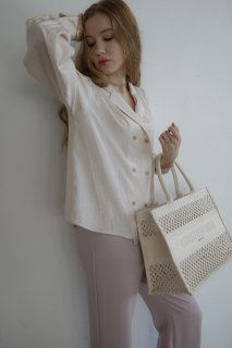Double-button Classical Blouse<br>[LIGHTBEIGE/BROWN]