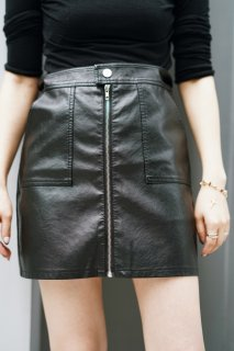 Eco-leather Mini Skirt<br>[BLACK]