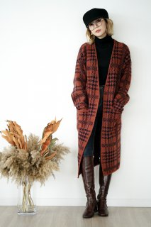 Check Long Knit Cardigan<br>[ORANGE/CHACOAL]