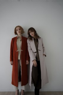 Wool Pencil Long Coat<br>[Greige/Orange]<br>[S/M]