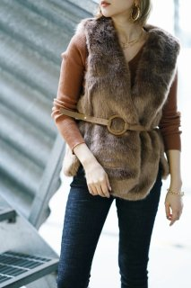 <img class='new_mark_img1' src='https://img.shop-pro.jp/img/new/icons8.gif' style='border:none;display:inline;margin:0px;padding:0px;width:auto;' />Volume Eco-fur Vest<br>[BROWN]