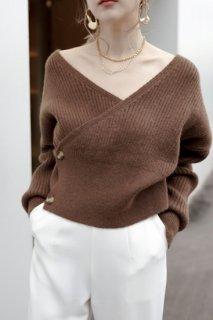 Cache-coeur Design Knit<br>[BEIGE/BROWN]