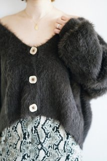 Front Button Mohair Cardigan<br>[BROWN]