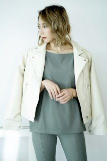 Eco Leather Riders Jacket<br>[IVORY]